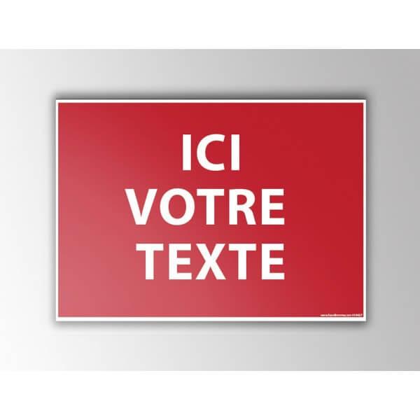 Panneau d'interdiction personnalisable fond rouge
