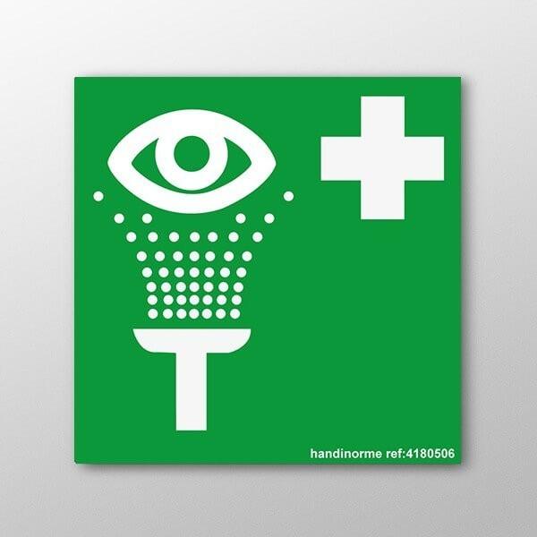 """Panneau ISO EN 7010 """"Equipement de rinçage des yeux"""" E011"""