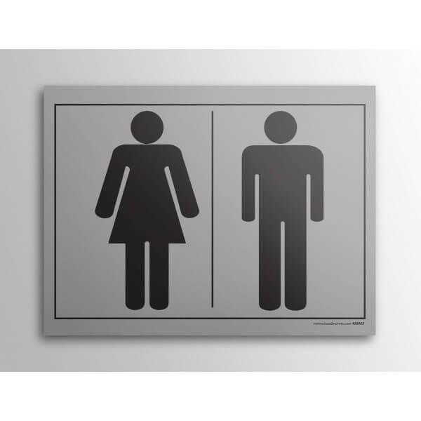 Plaque gravée picto homme femme WC gris