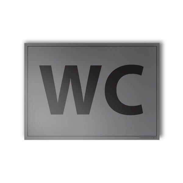 """Plaque gravée """"WC"""" gris"""