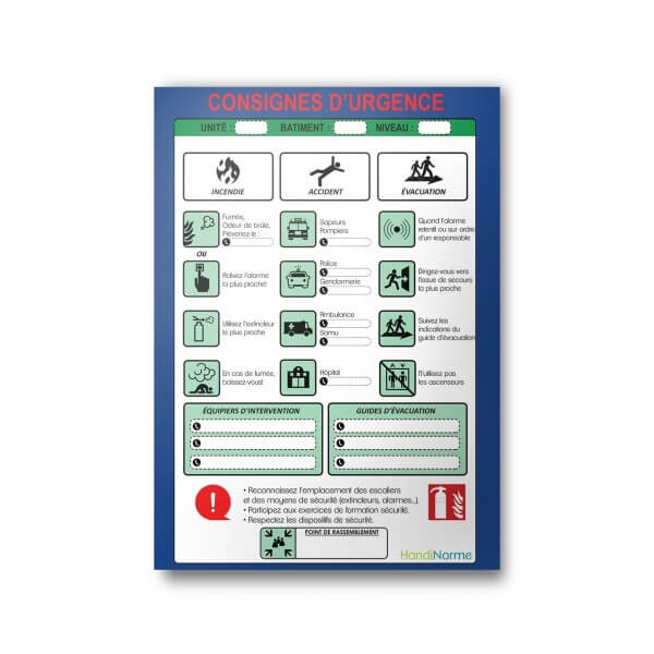 "Poster plastifié ""Consignes d'urgence"" format A3"