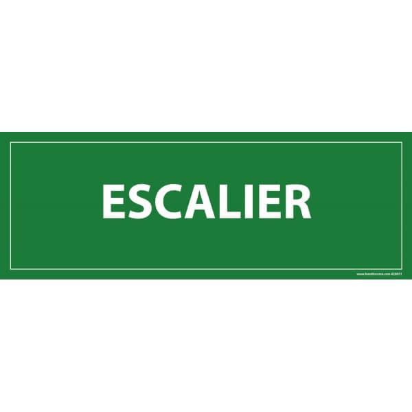 Panneau Escalier fond vert evacuation