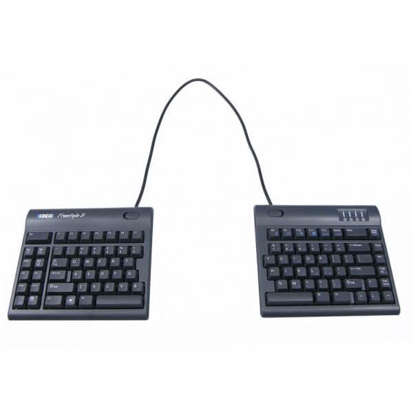 Clavier totalement plat, sans inclinaison pour éviter de casser le poignet. Ce clavier est divisé en 2 parties et permet de se positionner aisément pour respecter l'écartement des épaules et des avant-bras