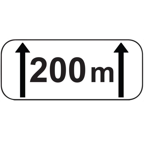 """Panonceau d'étendue M2 : """"200 m"""""""