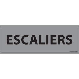 """Signalisation d'information """"ESCALIERS"""" - 210 x 75 mm fond gris"""
