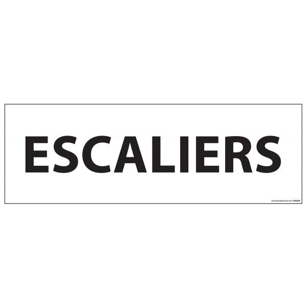 "Signalisation d'information ""ESCALIERS"" - 210 x 75 mm fond blanc"