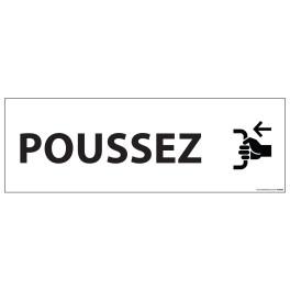 """Signalisation d'information """"POUSSEZ"""" - 210 x 75 mm fond blanc"""