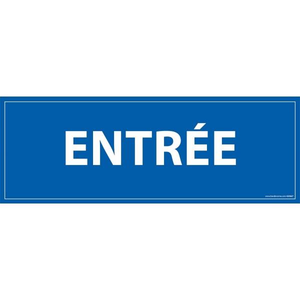 "Signalétique information ""ENTREE"" fond bleu 210 x 75 mm"