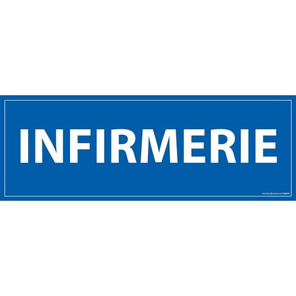"""Signalétique information """"INFIRMERIE"""" fond bleu 210 x 75 mm"""