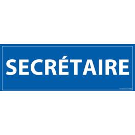 "Signalétique information ""SECRETAIRE"" fond bleu 210 x 75 mm"