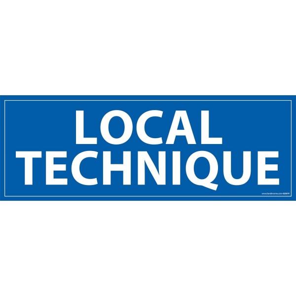 """Signalétique information """"LOCAL TECHNIQUE"""" fond bleu 210 x 75 mm"""
