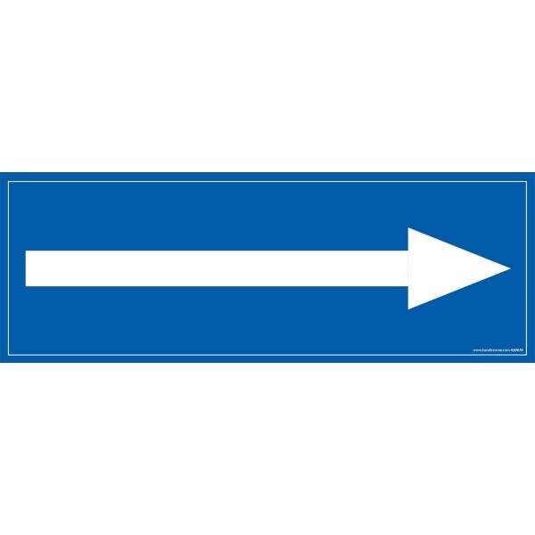 """Signalétique information """"flèche vers la droite"""" fond bleu 210 x 75 mm"""