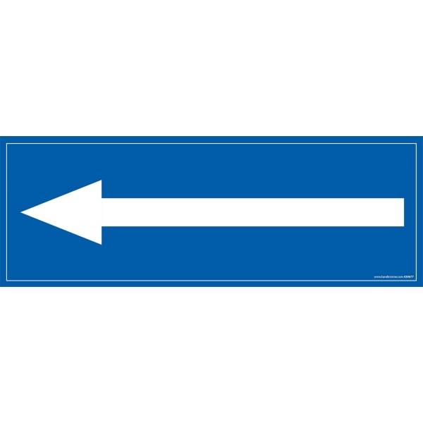 """Signalétique information """"flèche vers la gauche"""" fond bleu 210 x 75 mm"""