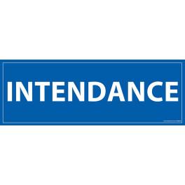 """Signalétique information """"INTENDANCE"""" fond bleu 210 x 75 mm"""