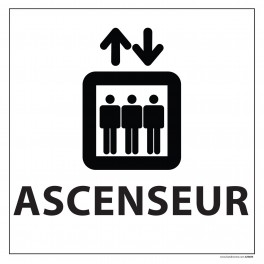 "Signalétique information ""ASCENSEUR"" fond blanc 250 x 250 mm"