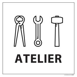 """Signalétique information """"ATELIERS"""" fond blanc 250 x 250 mm"""