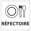 "Signalétique information ""REFECTOIRE"" fond blanc 250 x 250 mm"