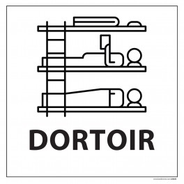 "Signalétique information ""DORTOIR"" fond blanc 250 x 250 mm"