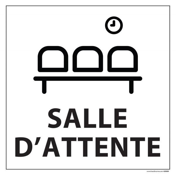 "Signalétique information ""SALLE D'ATTENTE"" fond blanc 250 x 250 mm"