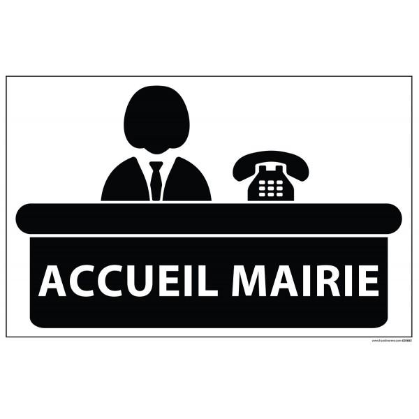 """Signalétique information """"ACCUEIL MAIRIE+ symbole"""" fond blanc 300 x 200 mm"""