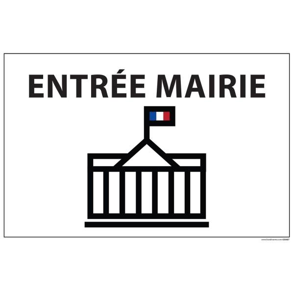 "Signalétique information ""ENTREE MAIRIE+ symbole"" fond blanc 300 x 200 mm"