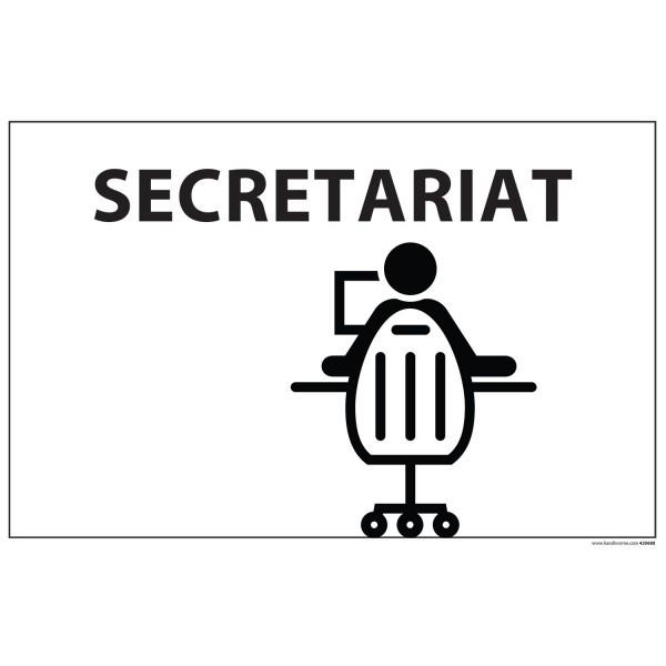 "Signalétique information ""SECRETARIAT + symbole"" fond blanc 300 x 200 mm"