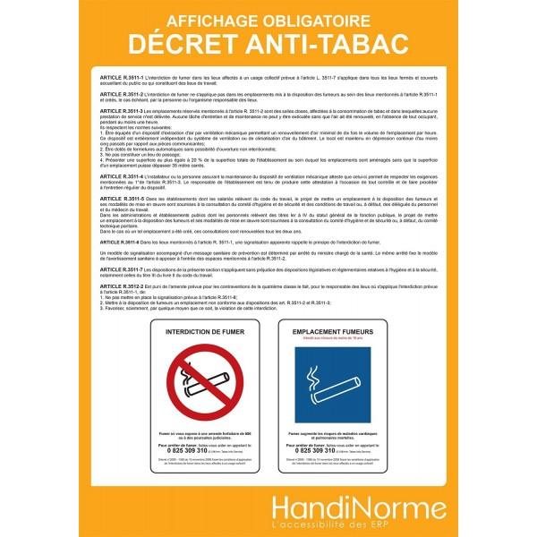 """Poster affichage"""" Décret anti-tabac"""""""