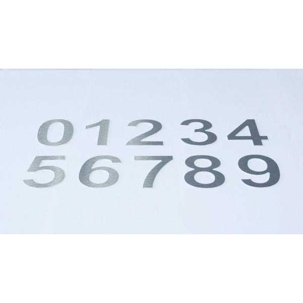 Chiffre relief en aluminium brossé chiffre 0 à9