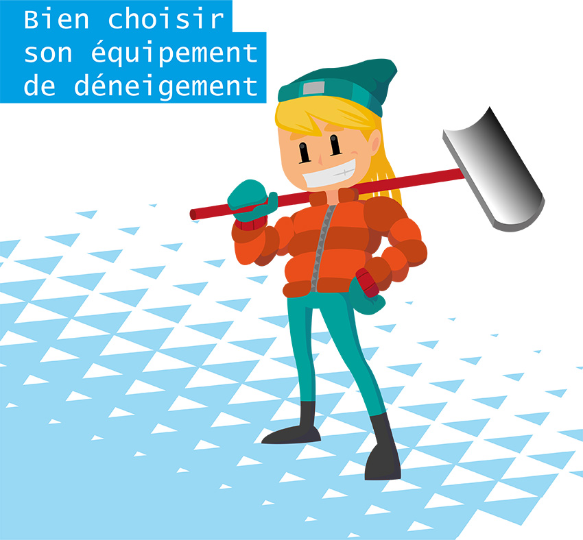 """Personnage dans la neige tenant une pelle de déneigement sur l'épaule et il y a une inscription en haut à gauche de l'image """"Bien choisir son équipement de déneigement"""""""