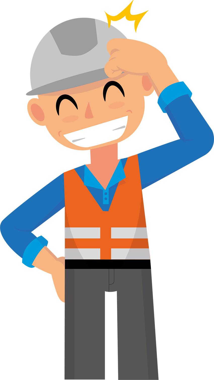 illustration homme de chantier avec casque