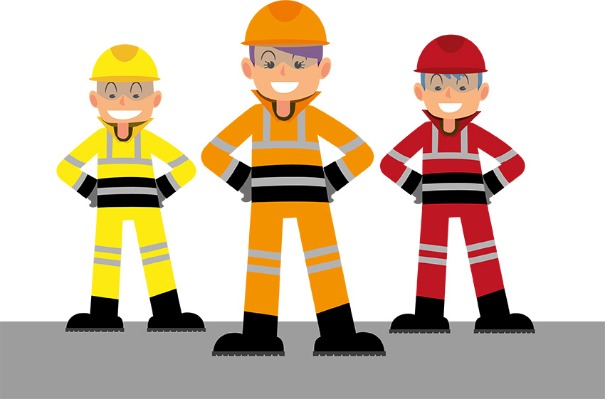 illustration hommes de chantier en habits haute visibilité