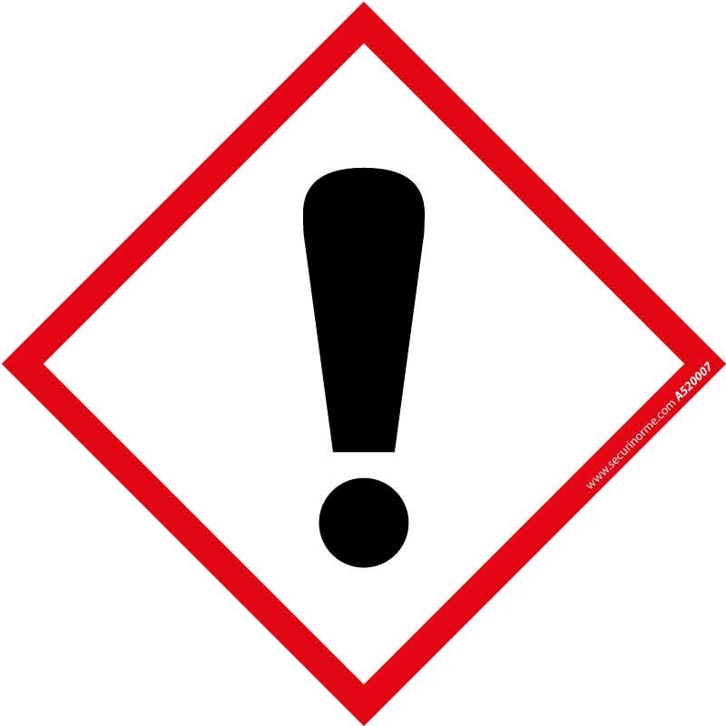 Pictogramme CLP SGH07 Danger pour sensibilisation cutanée, inhalation, corrosion ou irritation des yeux