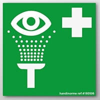panneau de sauvetage : point de lavage oculaire