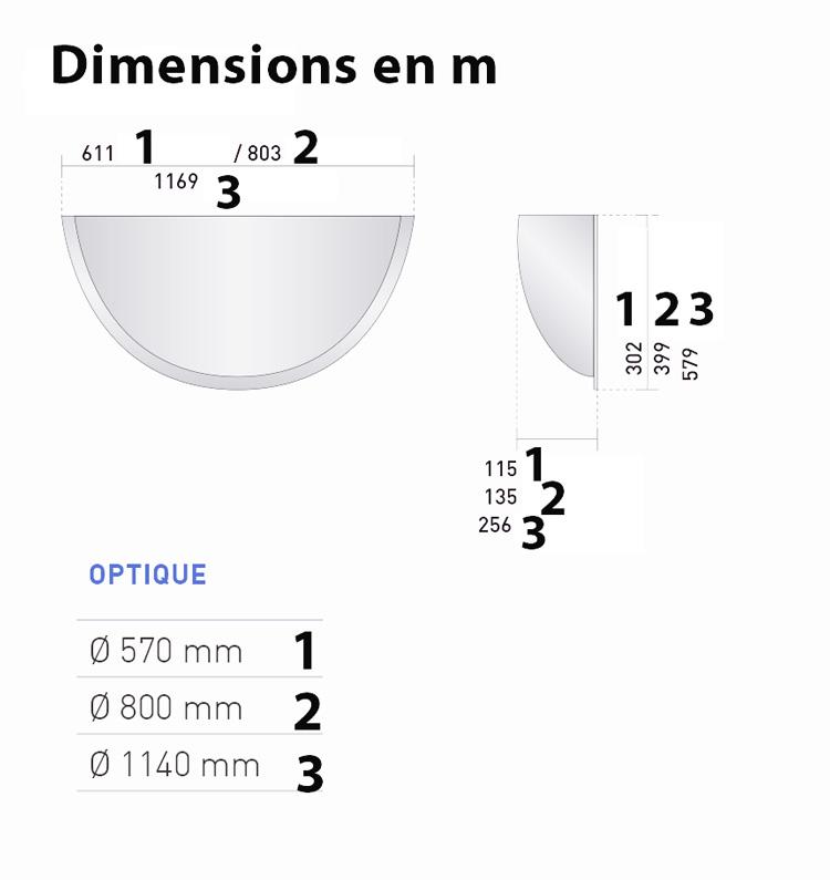 Dimensions miroir hemisphérique