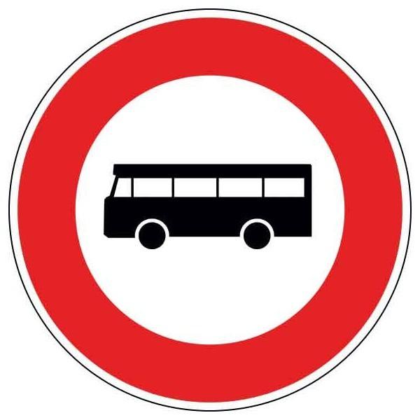 Panneau d'interdiction véhicules de transport en commun