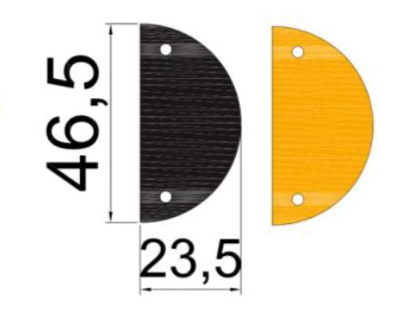 dimensions extremité ralentisseur 75mm